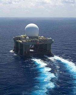 The Sea-Based X-Band Radar underway.