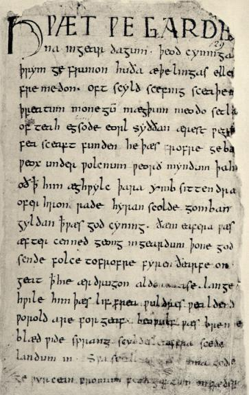 The first page of the Beowulf manuscript.  (Circa. 1000)