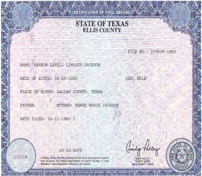 dallas county texas birth record