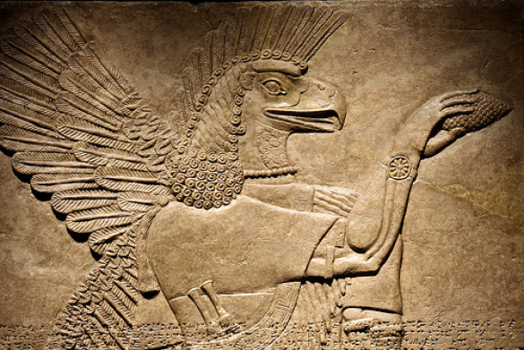 Sumer and the Anunnaki. Winged figure from the palace of Sargon of Akkad, in Assyria. Does this creature have a hand watch on his arm?
